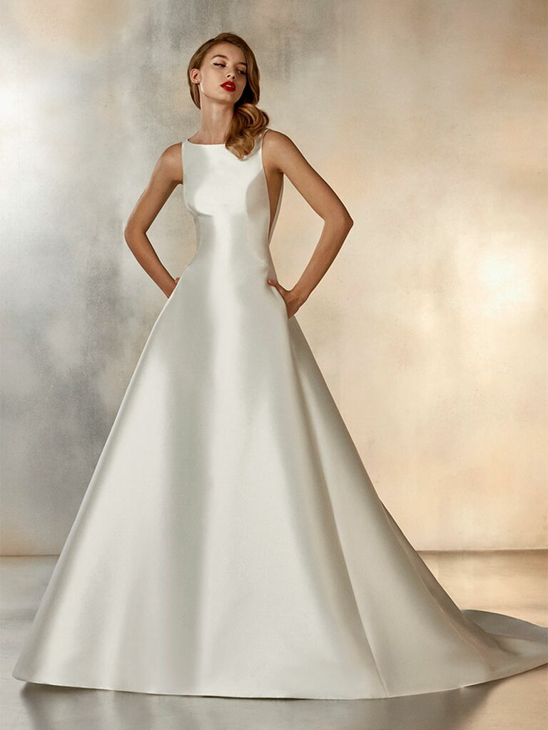 Atelier Provonias wedding dress ball gown with side cutouts