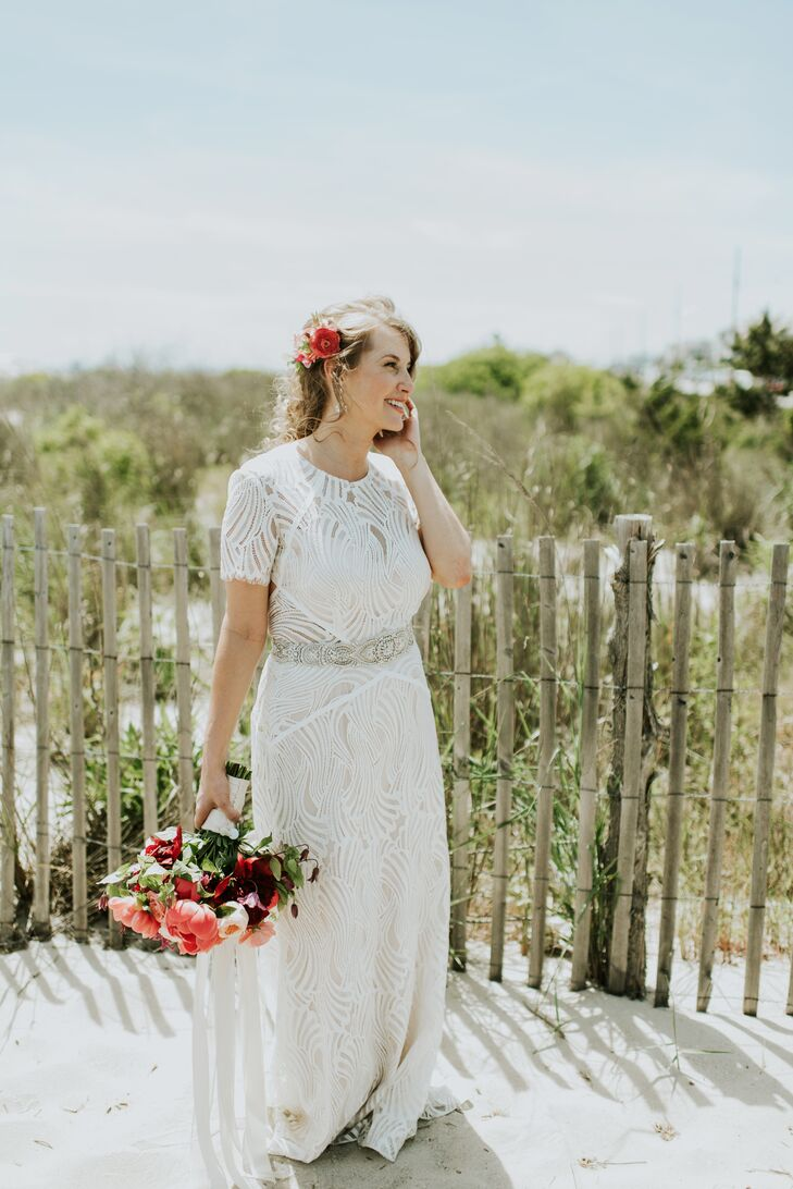 Short Sleeve Wedding Dress with Illusion Lace