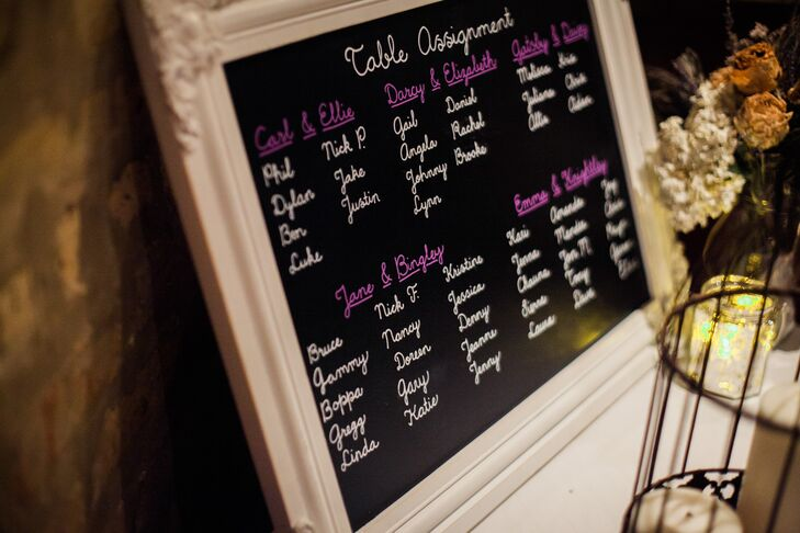 DIY Framed Seating Chart Sign