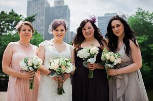 Vintage-Inspired Bridesmaid Look with Fascinators