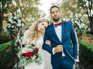 After saying their sunset vows in a serene garden, Chrissy Coyle (29 and a registered nurse) and Turner Nabors (33 and an industrial lighting speciali