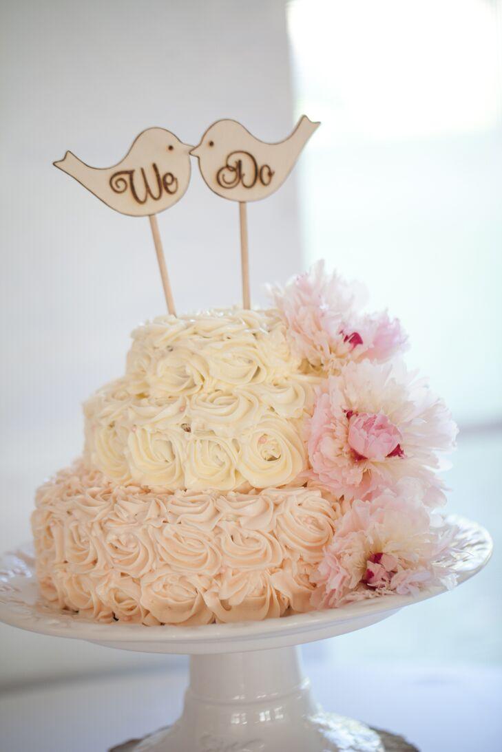 Three-Tier Blush Ombre Wedding Cake