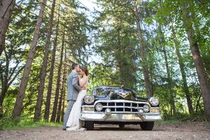 Bride and Groom with Black Cadillac
