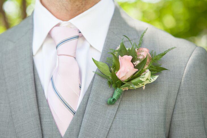 Blush Pink Rose Boutonniere