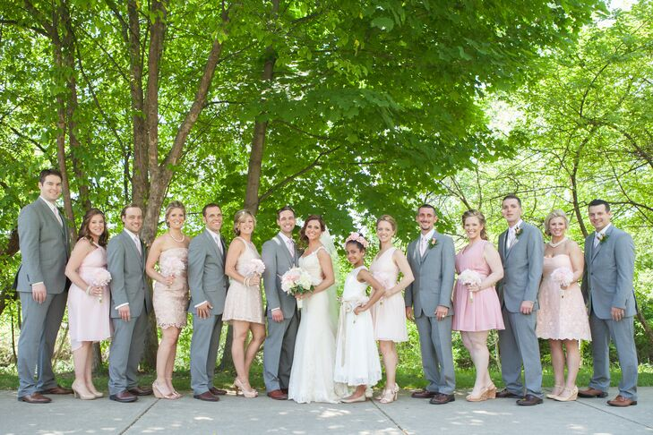 Grey and Blush Wedding Party