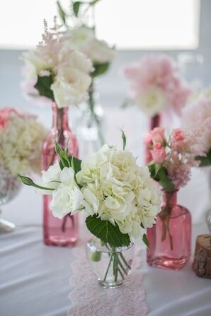 Hydrangea and Rose Centerpiece