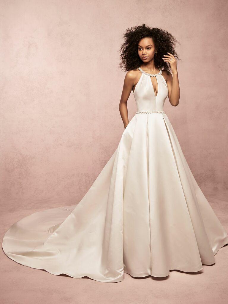 Rebecca Ingram Spring 2019 halter neck satin ball gown wedding dress with pockets
