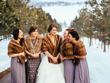 Bridesmaids wearing vintage furs with lavender Donna Morgan dresses
