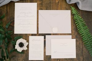 Classic Black-and-White Wedding Invitations with Formal Calligraphy