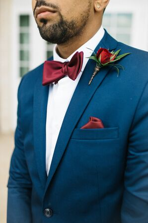 Navy Jacket with Burgundy Bow Tie and Pocket Square
