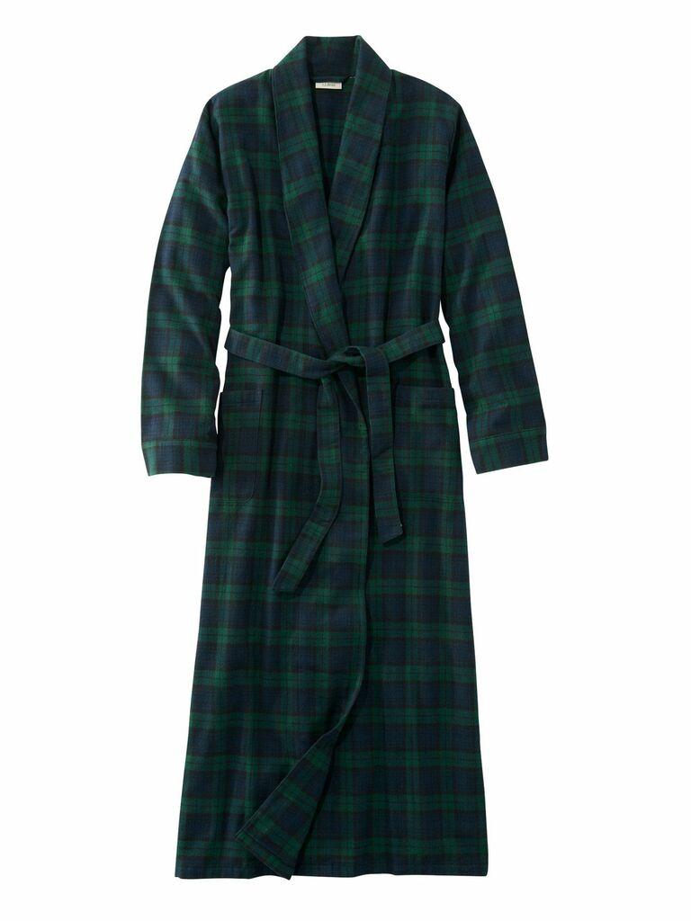 long plaid flannel bridesmaid robe