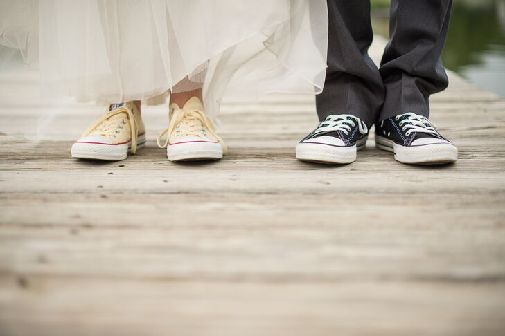 6e378dc72028f9 Bride and Groom Wearing Chuck Taylor Converse Shoes. Favorite. The one  thing Jen and Mike were sure about was that they wanted to wear Chuck