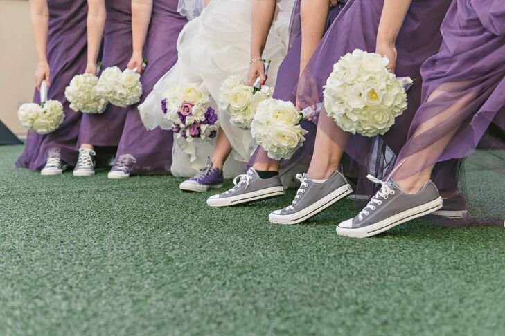 0b119ee577a7 Since the groomsmen dressed in casual purple Vans sneakers to offset their  gray suits