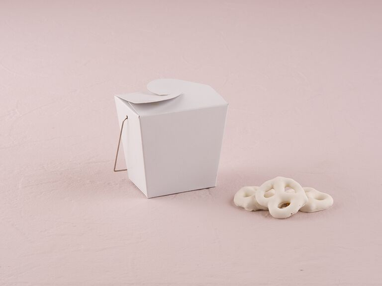White take-out container favors
