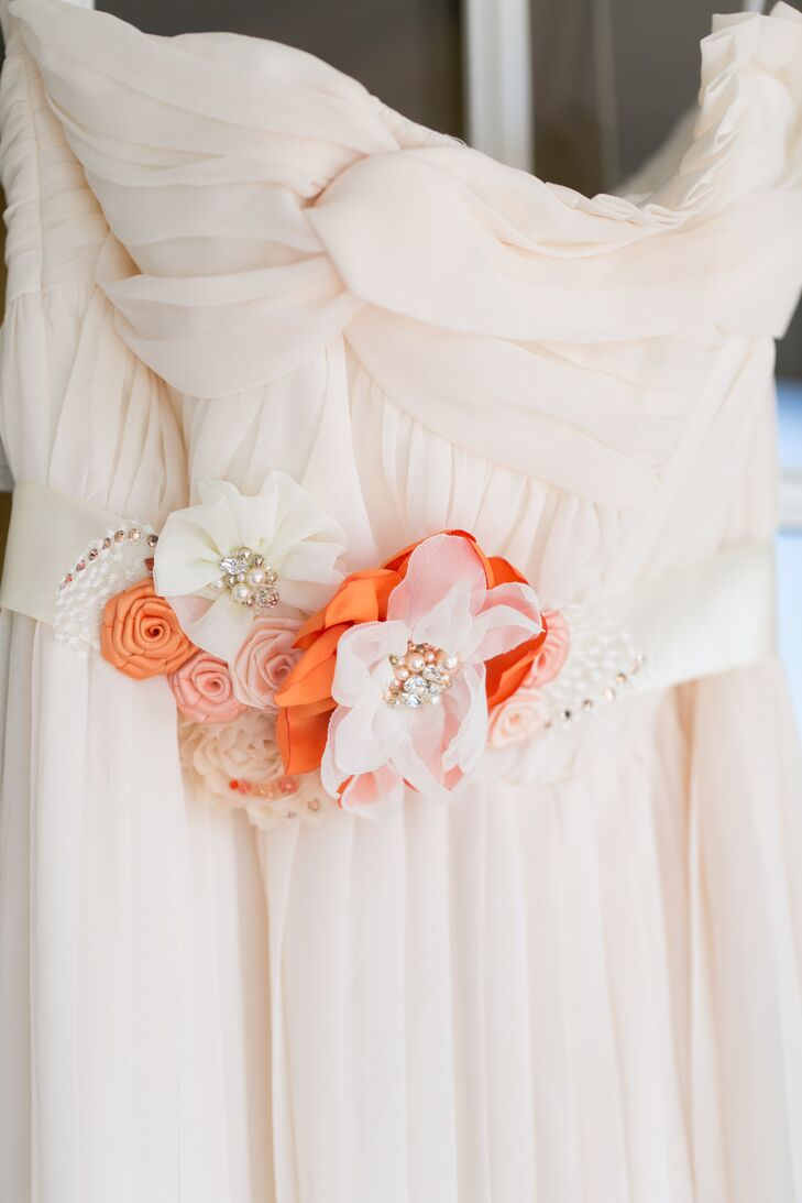 Ivory Wedding Dress With Orange Floral Accent