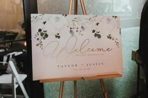 Romantic Sign with Typography on Gold Easel