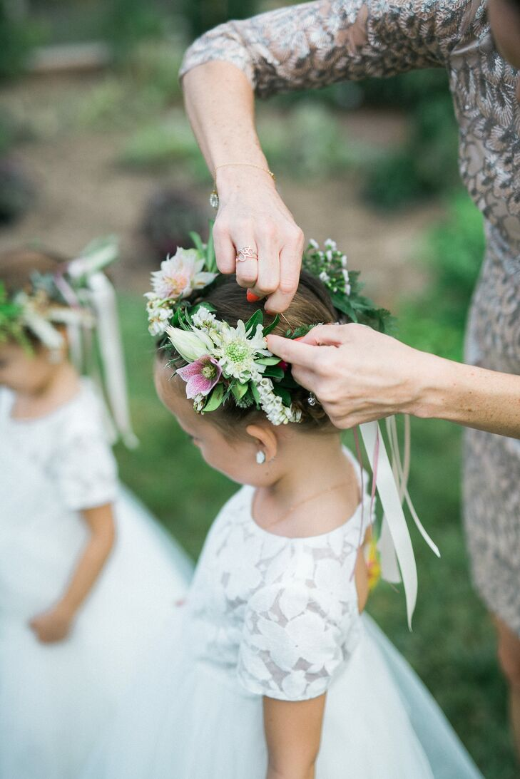 Flower Girls Wearing Floral Crowns