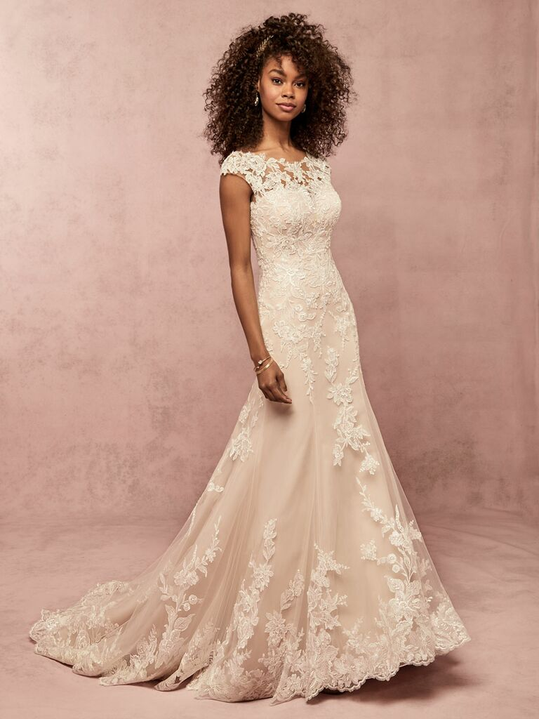 Rebecca Ingram Spring 2019 lace wedding dress with cap sleeve