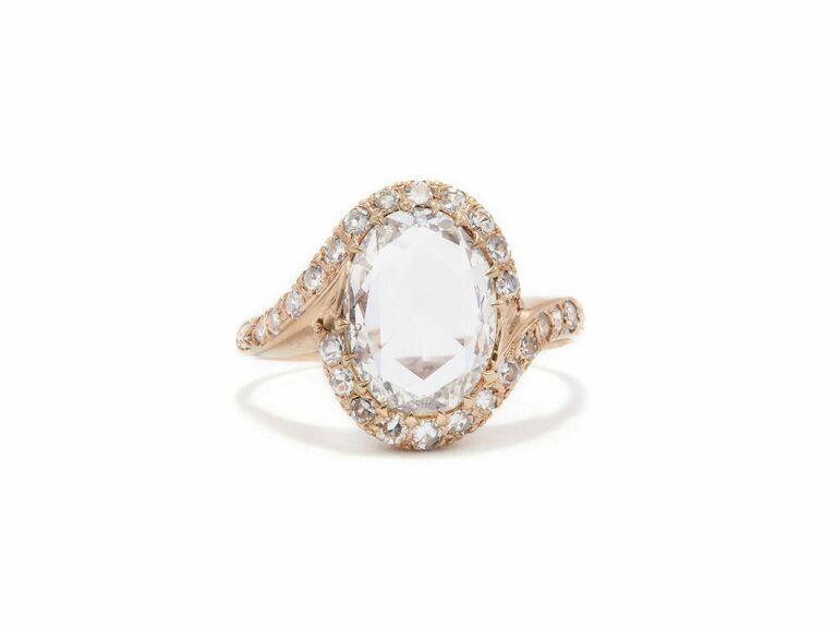Rose cut diamond ring in rose gold