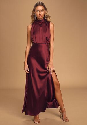 Lulus Classic Elegance Wine Satin Sleeveless Mock Neck Maxi Dress Bridesmaid Dress