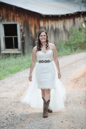 Custom Wedding Gown with Veil Skirt and Cowboy Boots