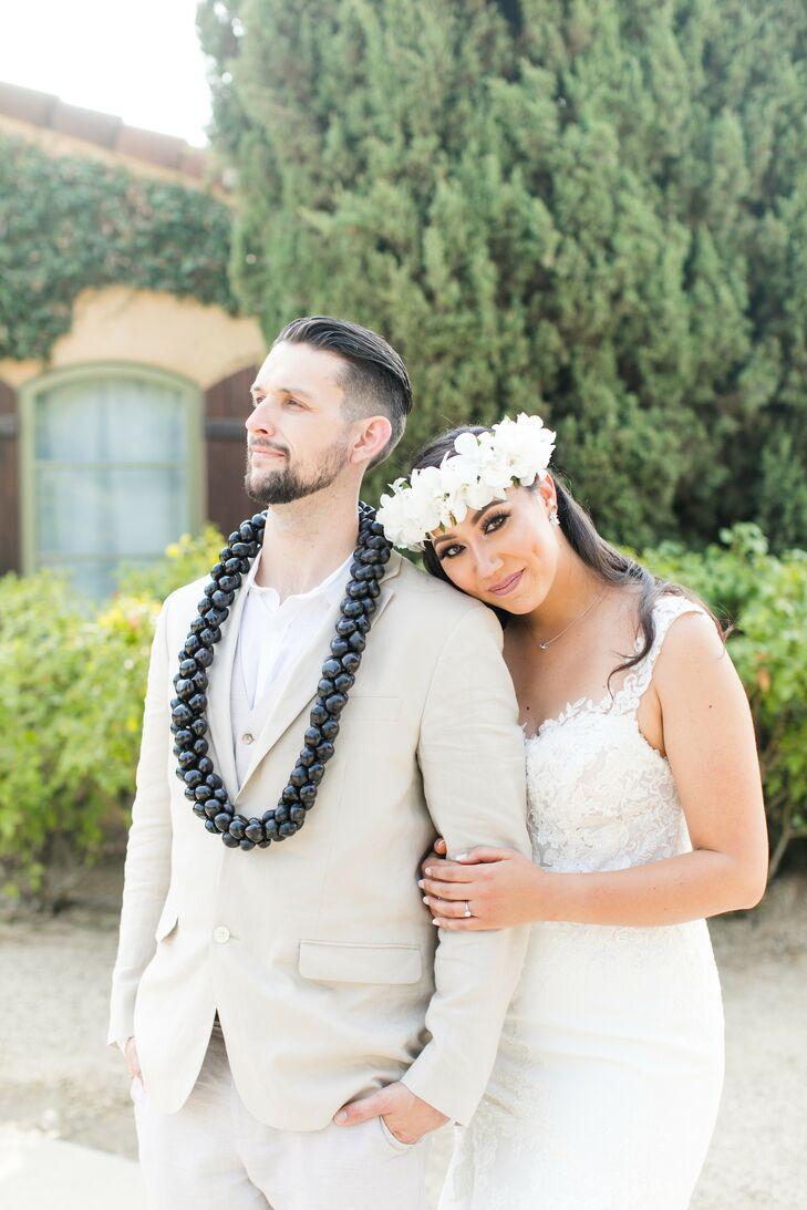 Couple Wearing Traditional Hawaiian Leis