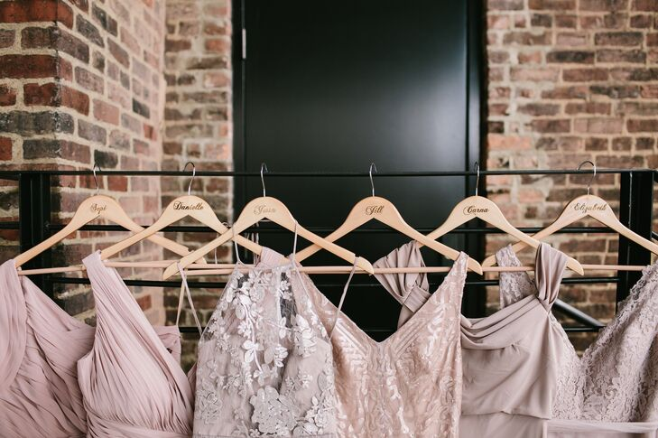 Mismatched Dusty-Rose Bridesmaid Dresses