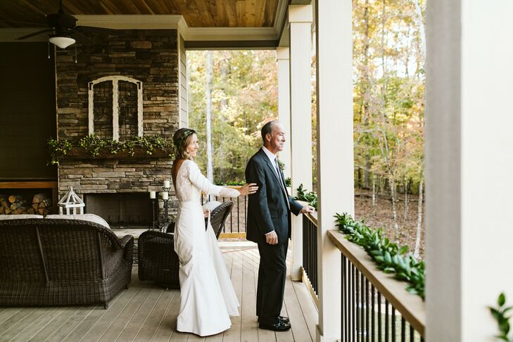 Bride Shares First Look with Father Ahead of Georgia Wedding