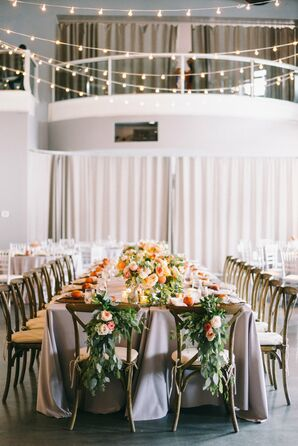 Cross-back Sweetheart Chairs with Boho Floral and Eucalyptus Swags