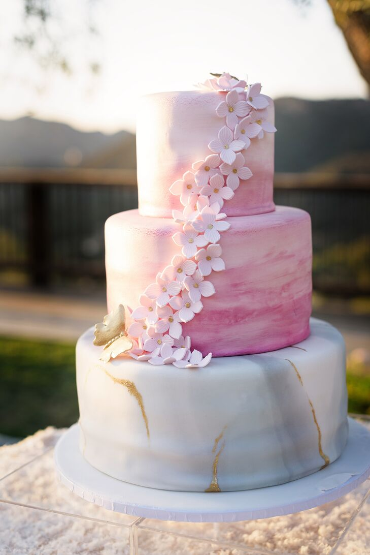 Hand-Painted Pink Watercolor and Marble Fondant Wedding Cake