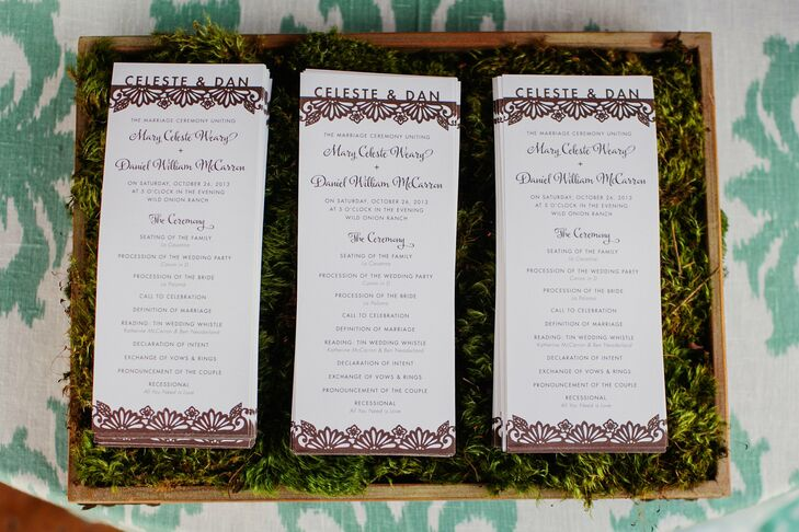 A local designer created the programs, and incorporated a design that was also used on the menus and signage. She created a look that went with the invitation and style, and she did an amazing job, Celeste says.