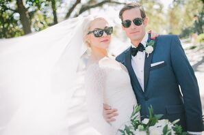 Formal Bride and Groom Sporting Sunglasses