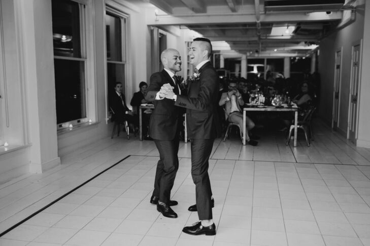 Same-Sex Couple Shares First Dance at Modern Loft Wedding in New York City