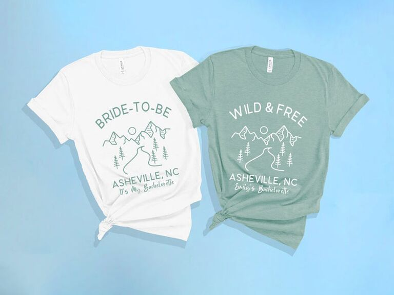 """""""wild & free"""" and """"bride-to-be"""" bachelorette party shirts"""