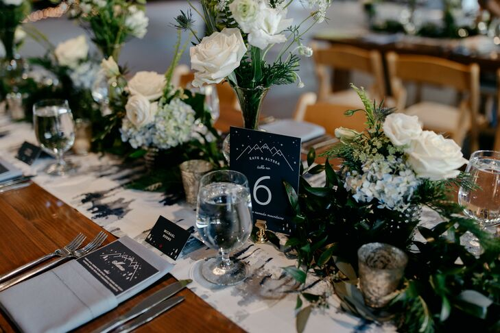 White-and-Blue Tablescape at Rustic North Carolina Wedding