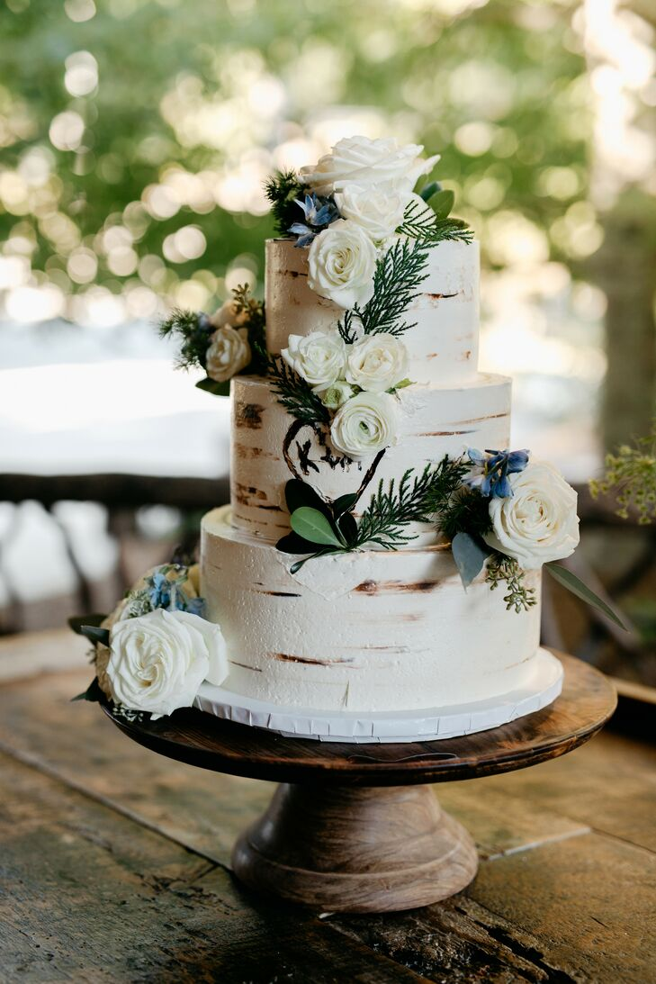 Wood-Inspired Wedding Cake at Rustic North Carolina Wedding