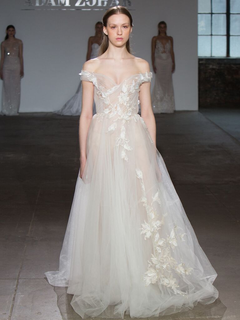 Adam Zohar Spring 2019 Collection sheer tulle A-line wedding dress with off the shoulder neckline