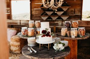 Rustic Tiered Cake with Snack Jars