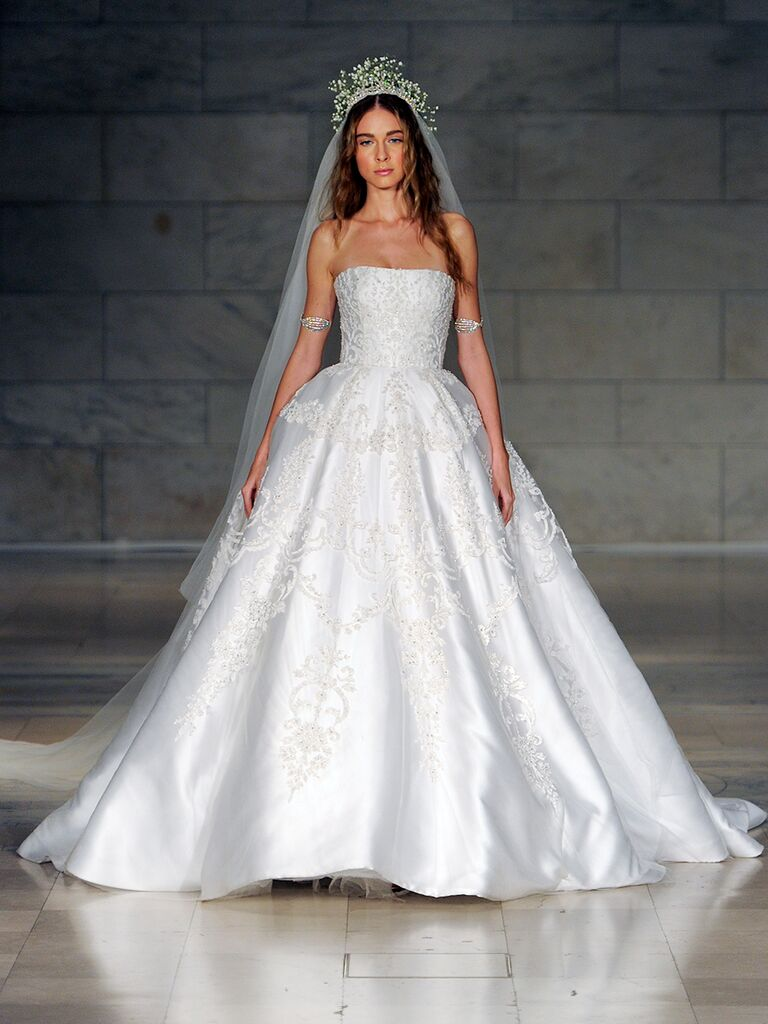 Reem Acra Fall 2018 strapless embroidered ball gown wedding dress