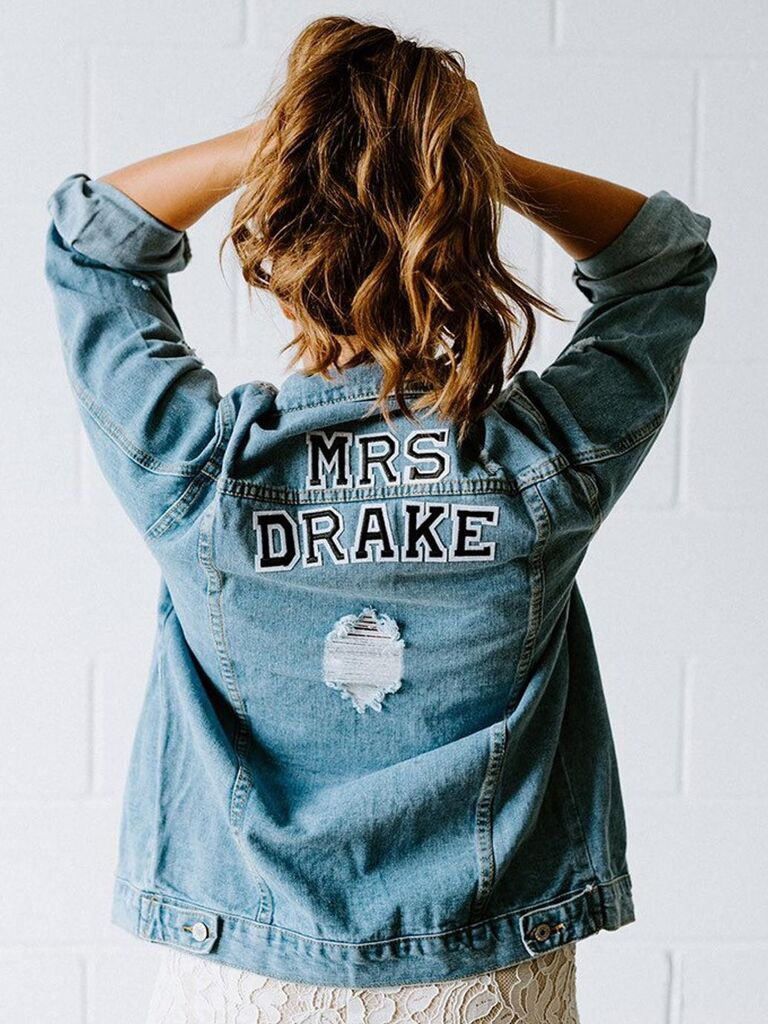 Custom jean jacket wedding gift for bride