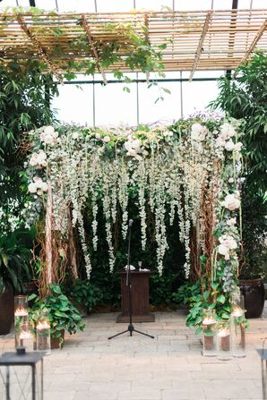 Green and White Floral Wedding Arch