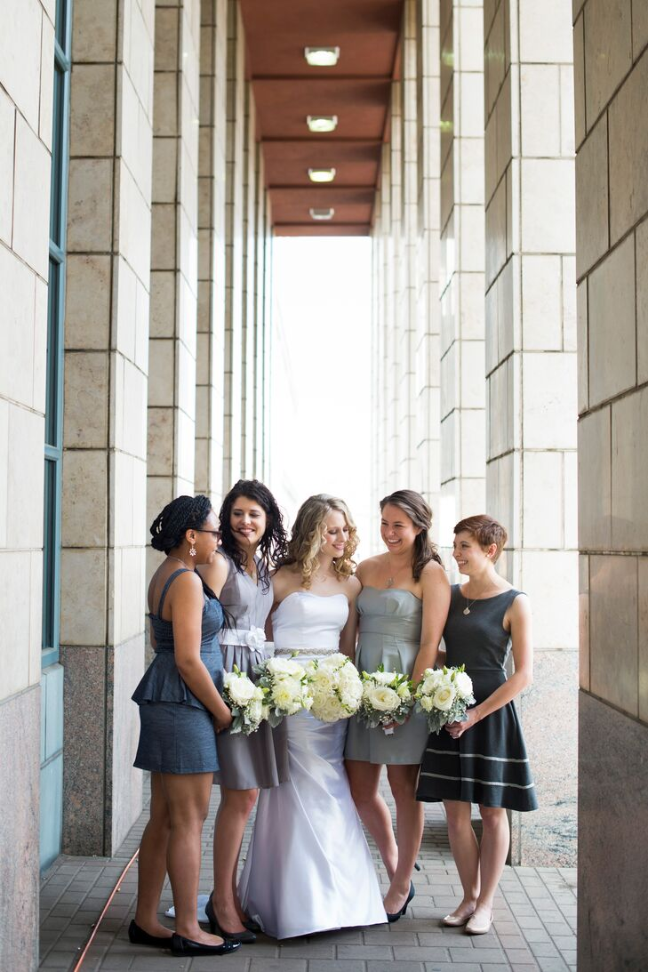 Marla told her bridesmaids to pick whatever dress they felt prettiest in as long as it was gray.