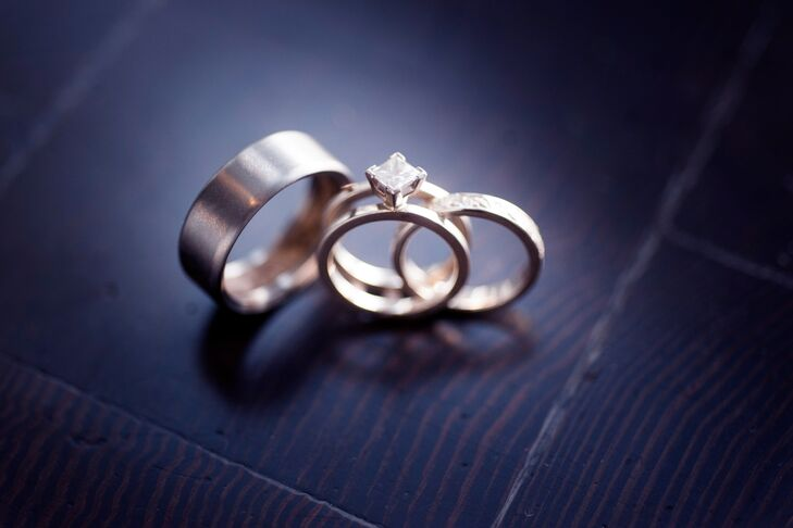Marla's wedding band was engraved with aspen leaves, and Corey's wedding band has a wood inlay on the inside.