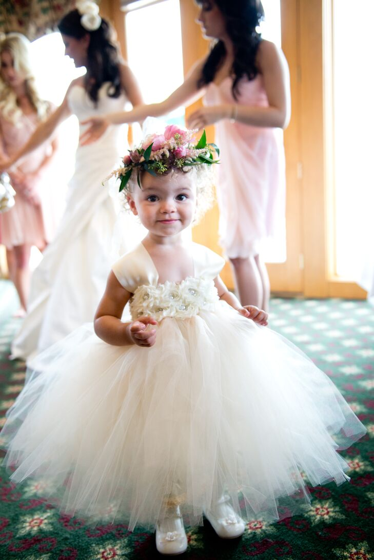White Tulle Flower Girl Dress with Pink Flower Crown