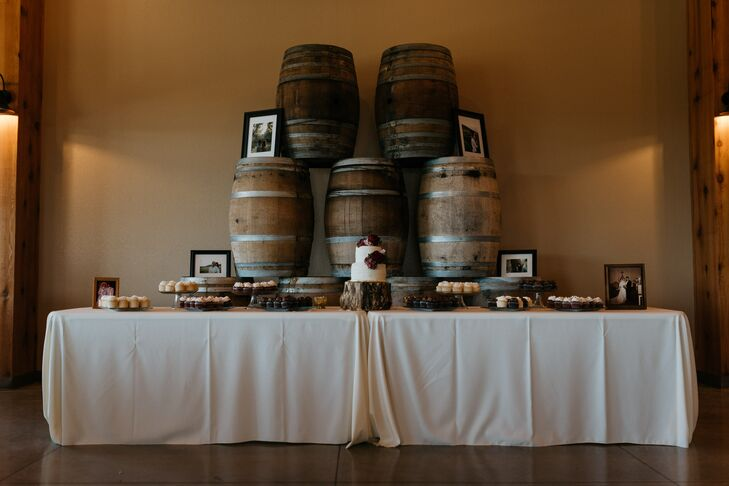 Rustic Dessert Table with Wine Barrels