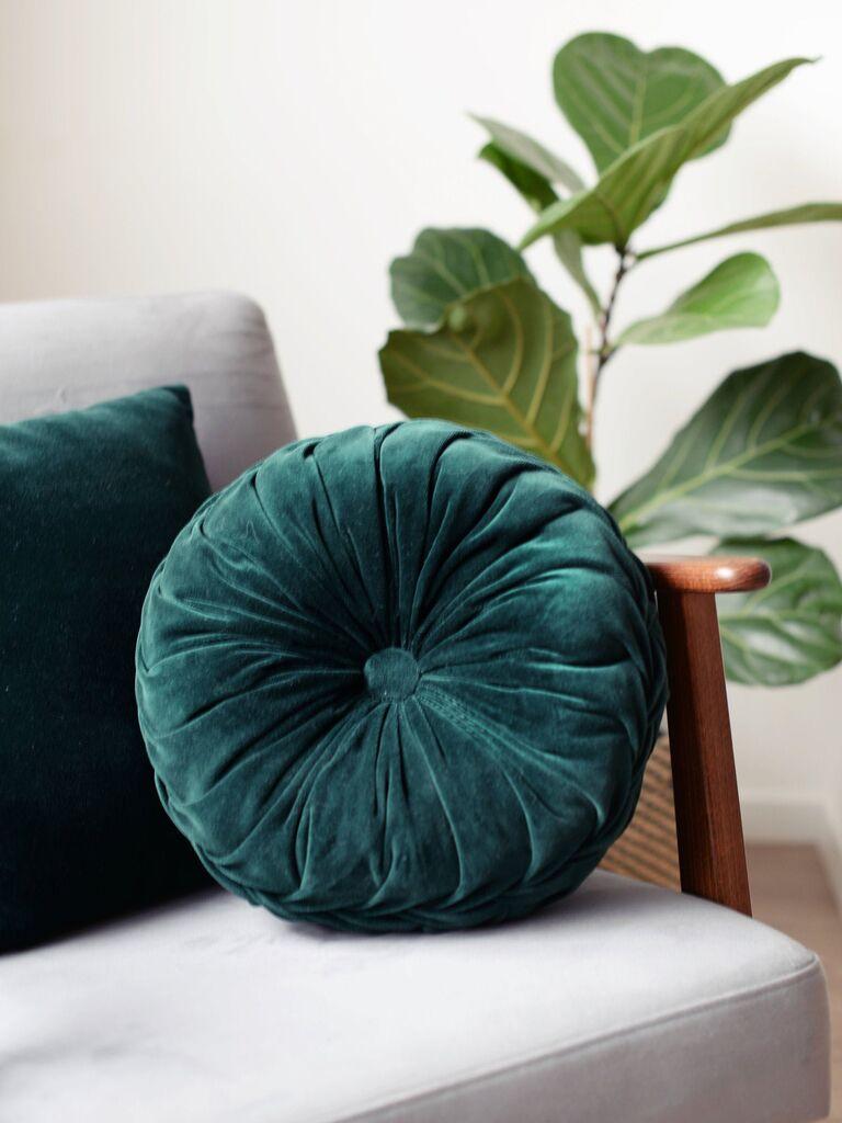 Backyard wedding ideas velvet throw pillow circular