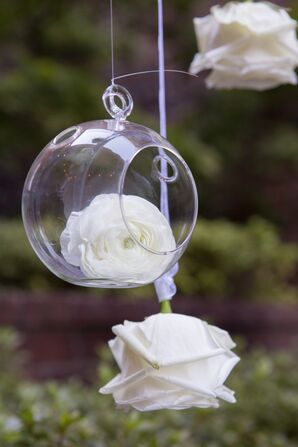 Hanging Glass Globes with White Roses