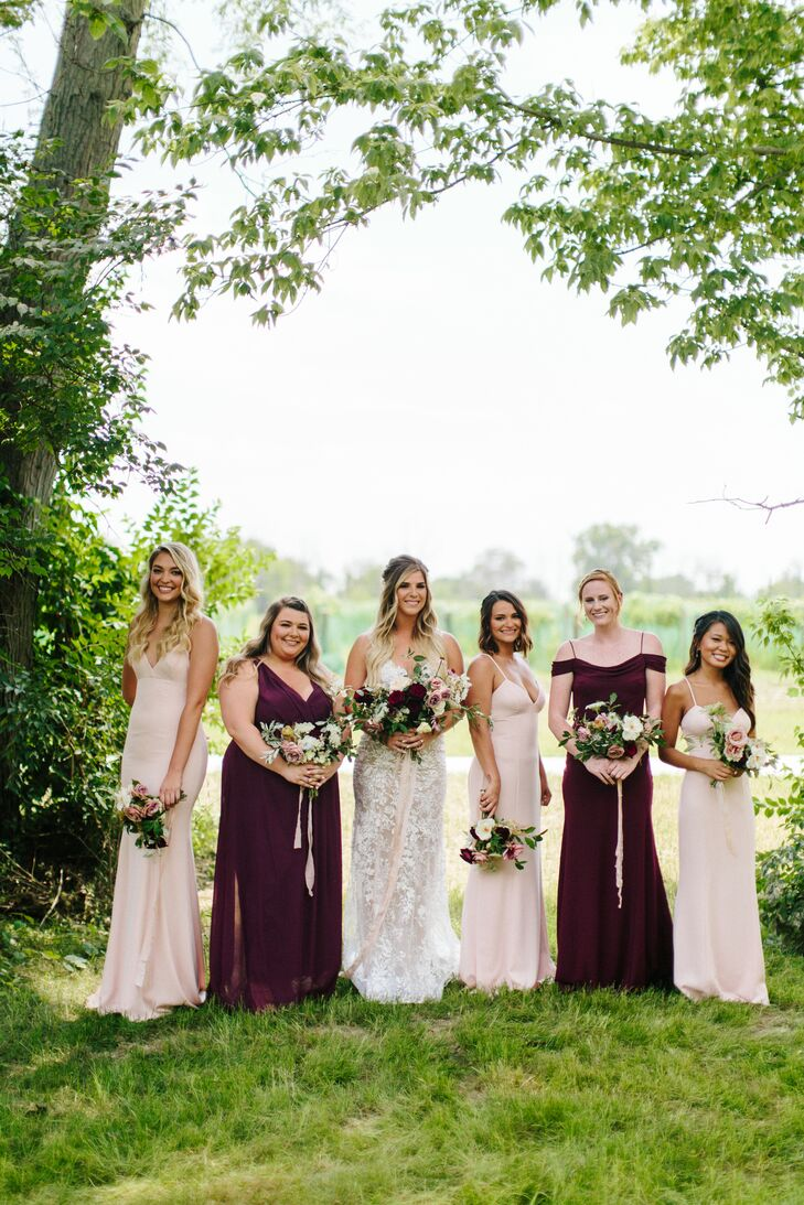 Long Burgundy and Blush Bridesmaid Dresses