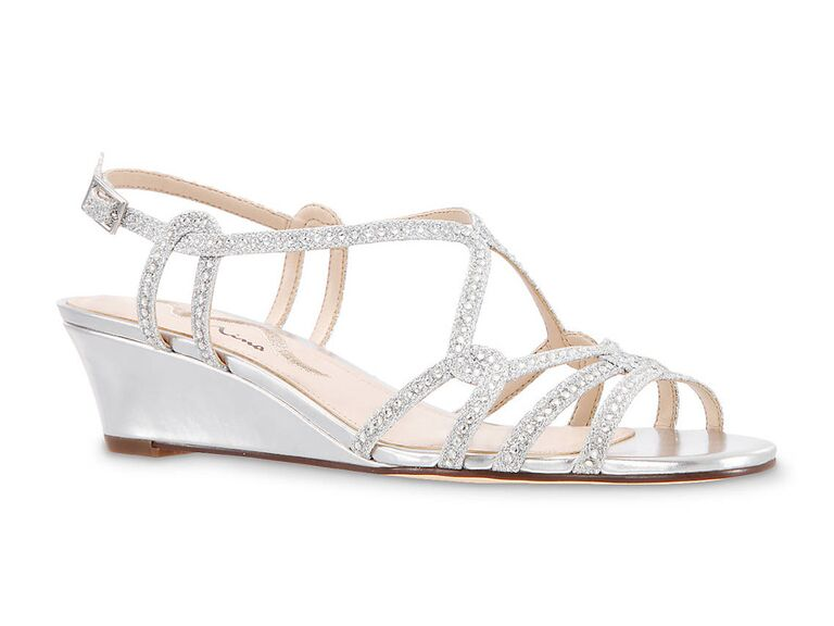 Nina Florita wedge sandal in Silver Metallic