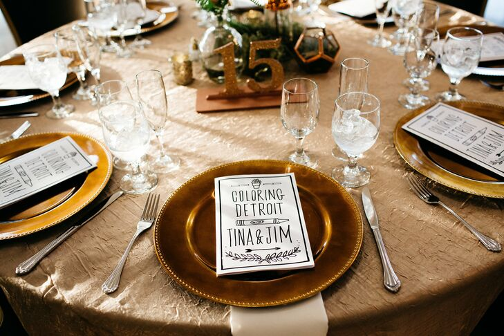 Custom Coloring Book Favors on Gold Tables